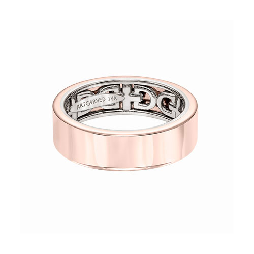 Rose gold wedding bands are enjoyed by men also.