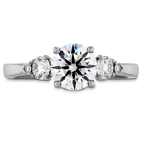 This engagement ring choice has three large stones in the setting.