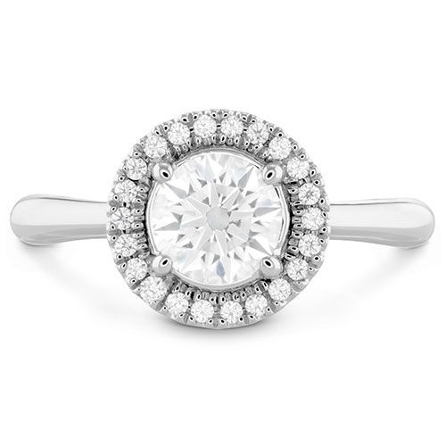 The Destiny engagement ring features a diamond halo around the round center diamond.