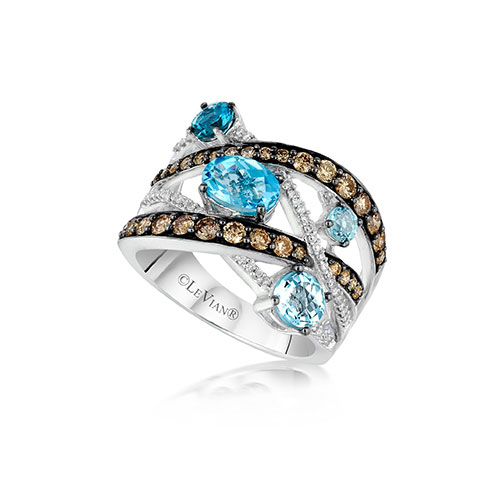 This ring features white gold and also baby blue diamonds in the setting.