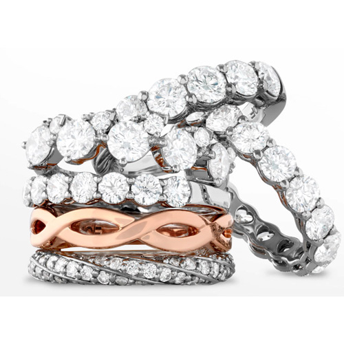 Rose gold is available for engagement rings and wedding bands.