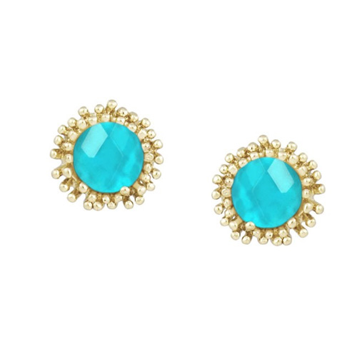 Carly earrings are made with clear, London Blue glass.