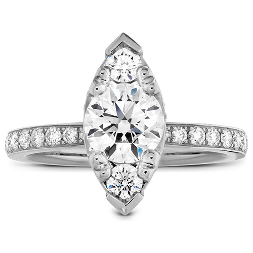 The setting is marquise shaped and filled with large diamonds.