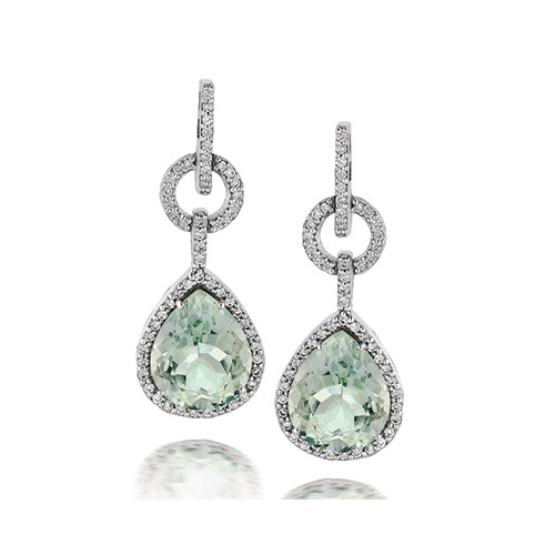 A beautiful example of mint green diamond earrings.