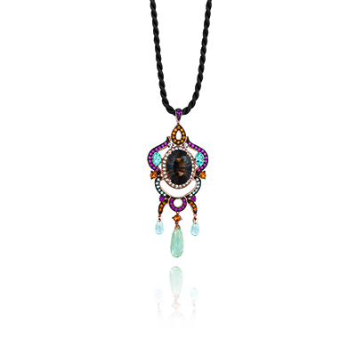 This is a colorful chocolate diamond pendant that has blue and violet diamonds also.