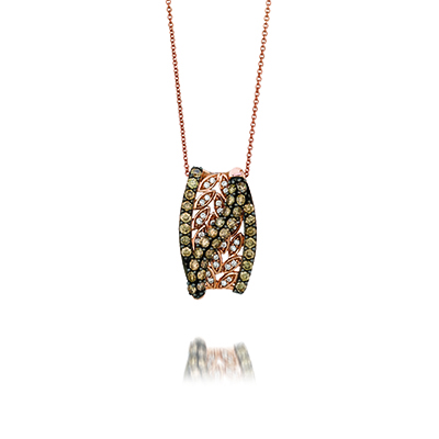 Chocolate diamond pendants are made by Le Vian Jewelers.