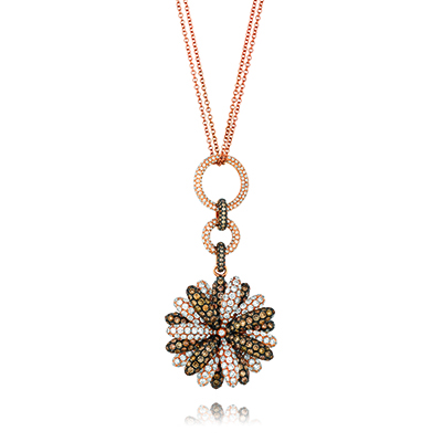 Chocolate diamond necklaces are from Le Vian Jewelers.