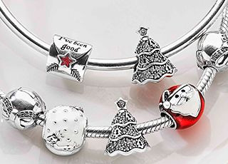Beautiful silver Christmas charms designed by Pandora.