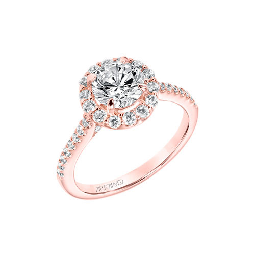 This engagement ring features rose gold.