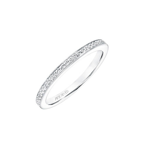 A diamond white gold bands makes for an unconventional engagement ring.