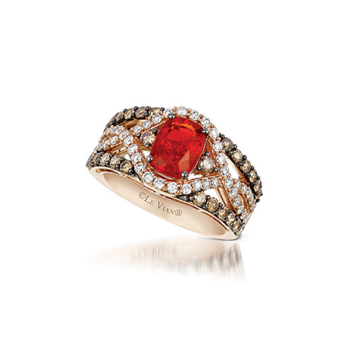 This ring features chocolate, white and red diamonds.