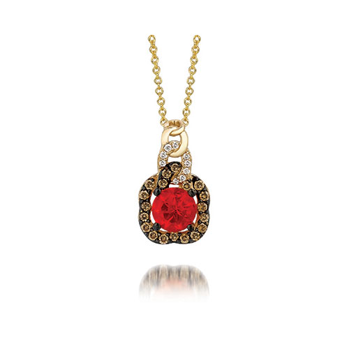 Many rings, pendants and earrings contact a red diamond when Le Vian designs them.