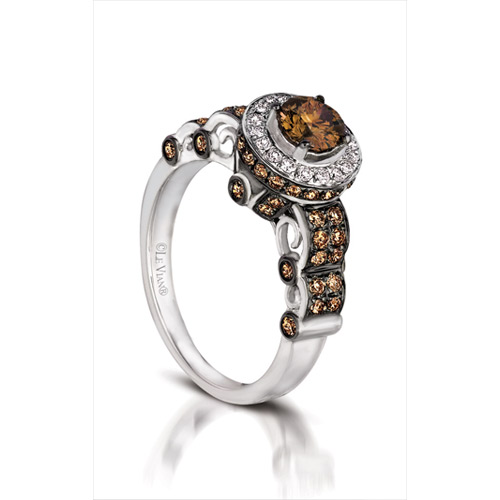 This Le Vian Chocolate ring is made with white diamonds as well as chocolate diamonds.