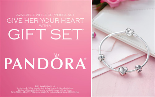 Pandora gift sets for Valentine's Day are on special.