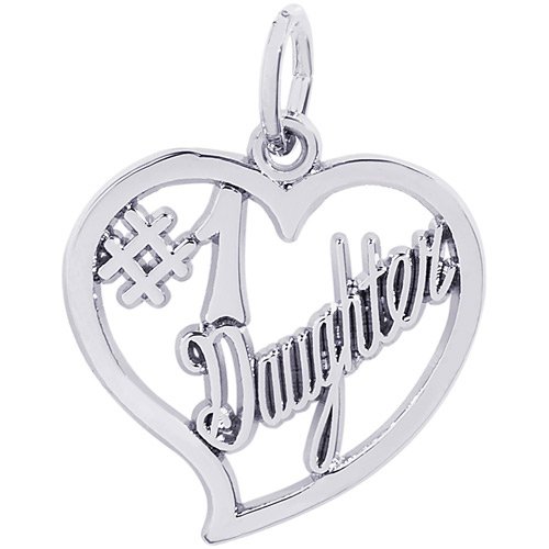 Sterling silver charm for a daughter on Valentine's Day.