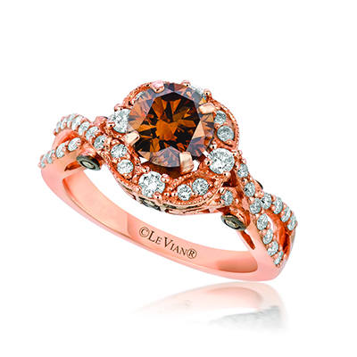 This is a rose gold and chocolate diamond engagement ring.