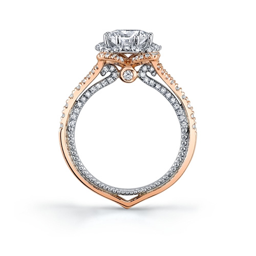 The outside of the ring is made in rose gold and the inside is white gold.