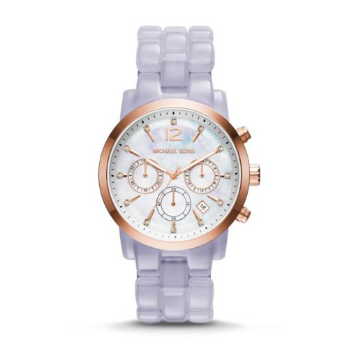 A beautiful lavender colored band is on this Michael Kors watch.