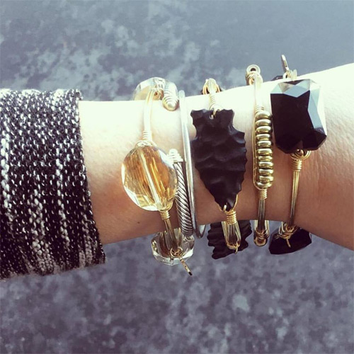 Wire wrap black bracelets by Bourbon and Boweties.