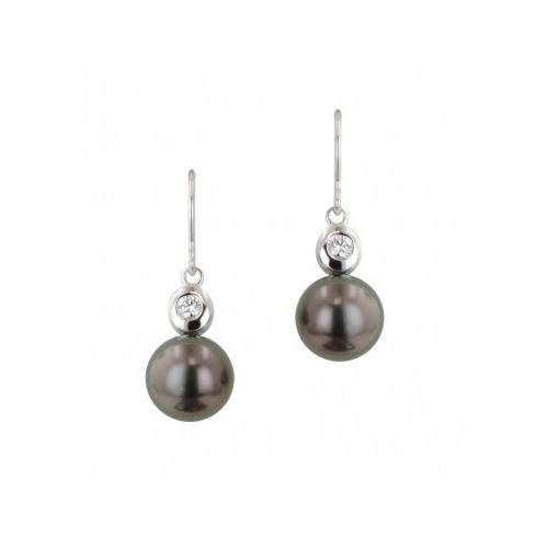 Black Tahitian Pearl and Diamond Earrings by Honora