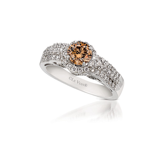 The wedding band is made with white diamonds.