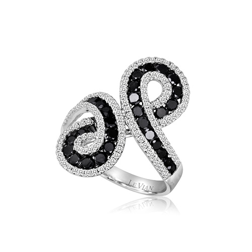 Elegant black and white diamond ring for dinner.