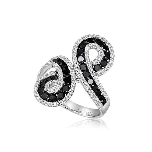 Elegant black and white diamond ring for dinner.