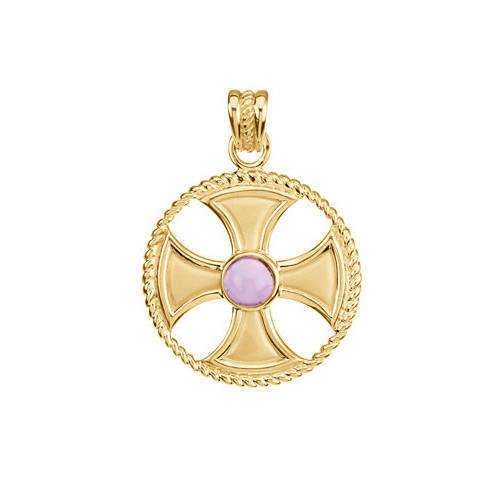 Amethyst Pendant in Gold compliments your earrings that are made with amethyst.