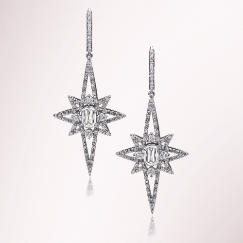 Conflict-free diamonds in l'amour star diamond earrings.