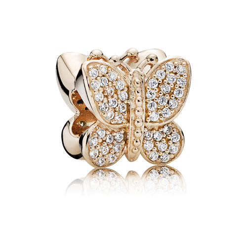 The Sparkling Butterfly charm is loaded with cubic zirconia stones.