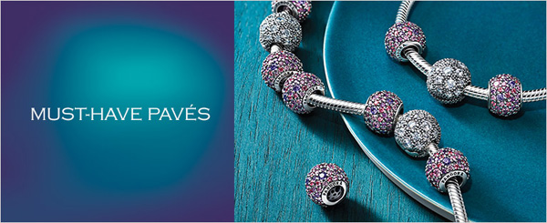 Pandora Charms come in all types, including the sparkly pave loaded with crystals.s.