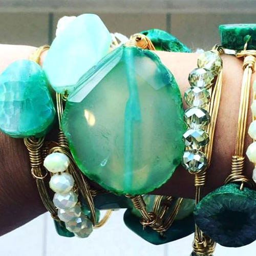 Glass and stones are featured a lot in these bracelets.