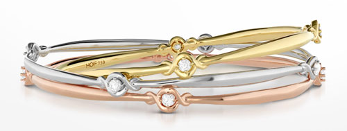 Bangles can also be in gold and have diamonds!