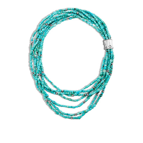 This bamboo beaded necklace features a turquoise color.