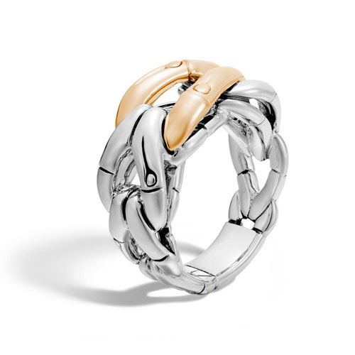 This Bamboo ring features gold and sterling silver intertwined.