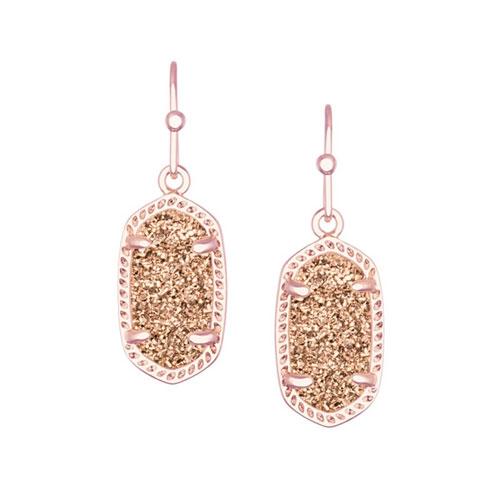 Kendra Scott druzy is featured in many earrings, bracelets and pendants.