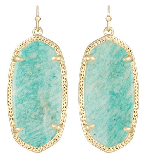 This pair of Elle earrings feature amazonite.