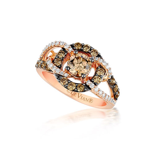 A chocolate and white diamond ring designed by LeVian.