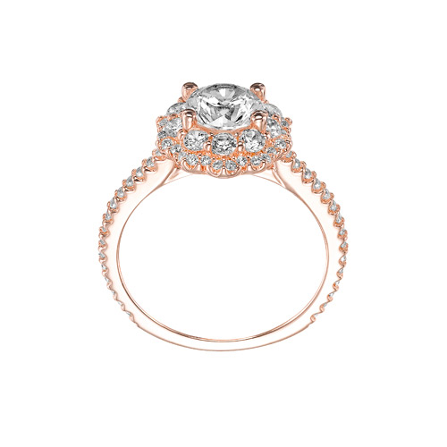 Rose Gold and white diamonds are what this Priscilla ring is made with.