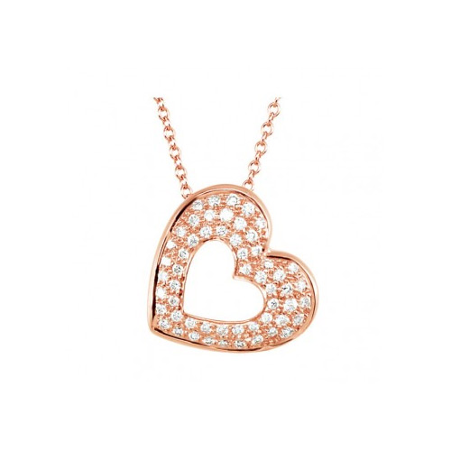 This diamond heart pendant is in rose gold.