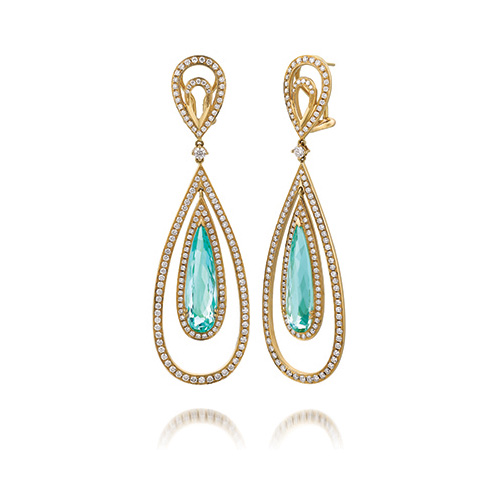 The spectactular earrings can be tried on at Ben David Jewelers.