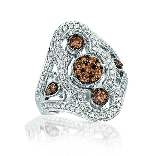 Chocolate diamonds are offset by white diamond in this Le Vian creation.