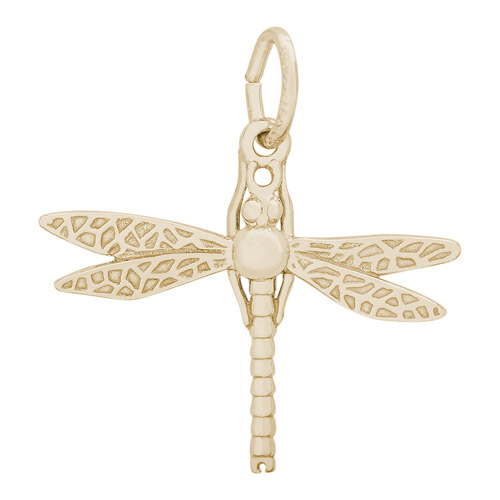 This Dragonfly is a 14 karat gold charm, but it is also available in 10K gold and sterling silver.
