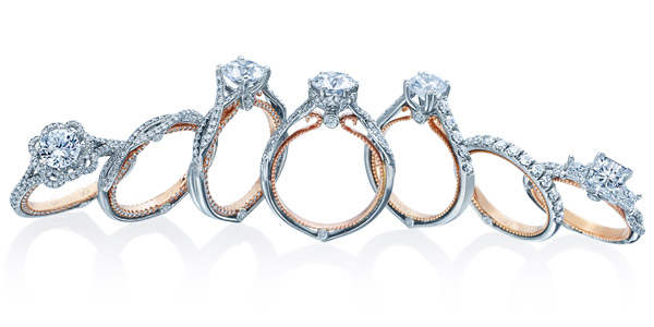 There are many collections of gold engagement rings at Ben David Jewelers.