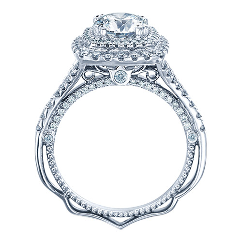 This gold engagement ring is in white gold.