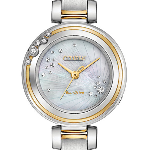 A Citizen watch for the ladies that feature some pave stones.