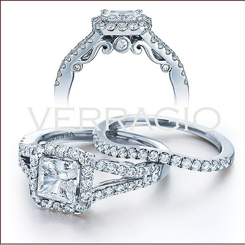 This Princess cut engagement ring is from Verragio.