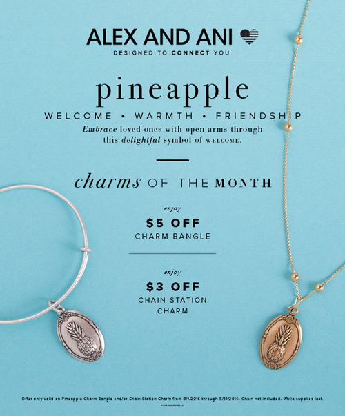 Alex and Ani Charm of the Month flyer explains all the details.