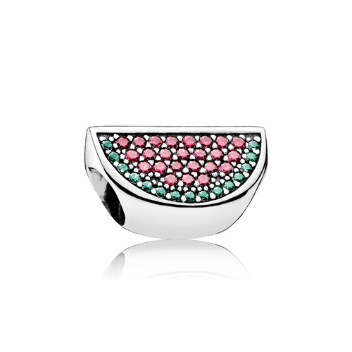 This sterling silver bracelet charm features colorful crystals.