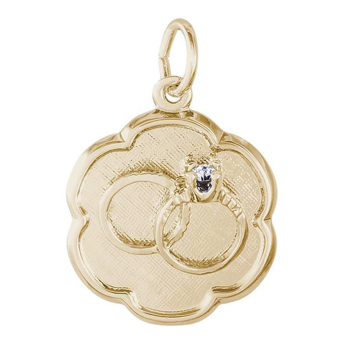 This charm is available in various types of white and yellow gold.